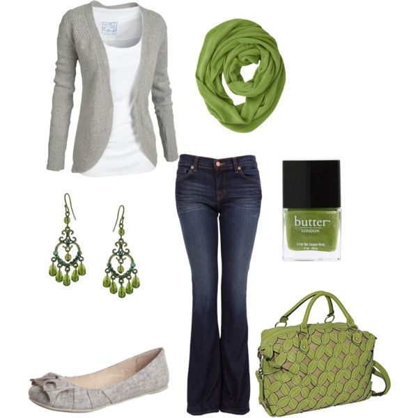 green and gray: Shoes, Green And Gray, Dreams Closet, Green Scarves, Color, Green Accent, Cute Outfits, Fall Outfits, Casual Outfits