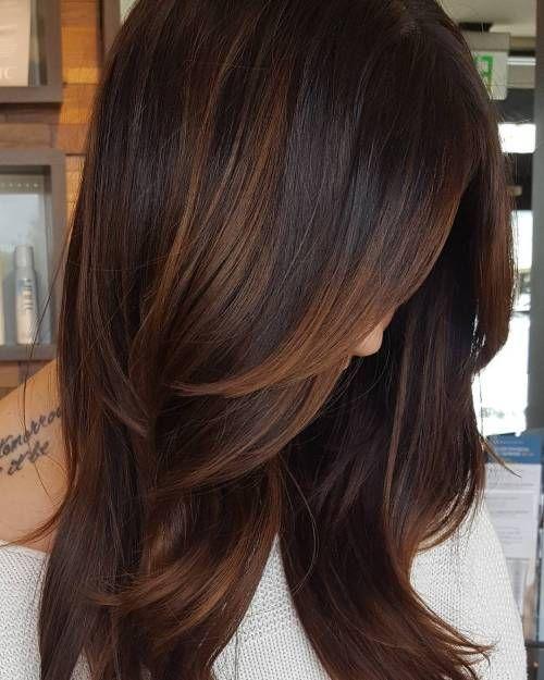 60 Frisuren mit dunkelbraunem Haar mit Highlights – Frisuren Haarschnitte