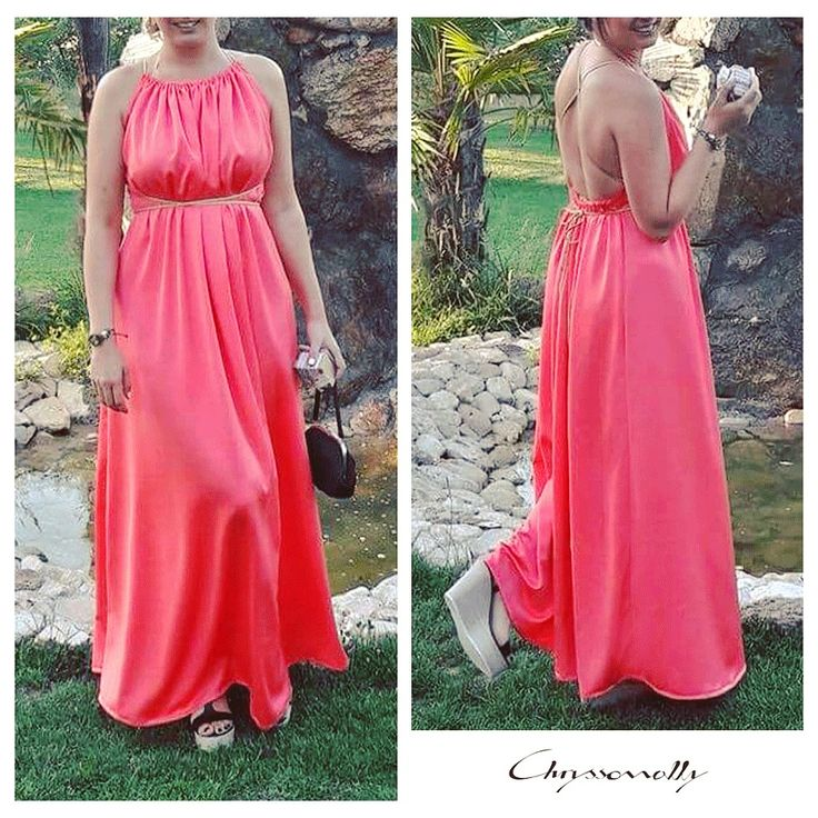 SARTORIAL   Chryssomally    Art & Fashion Designer - Maxi open-back coral crepe dress with gold strings and tassels
