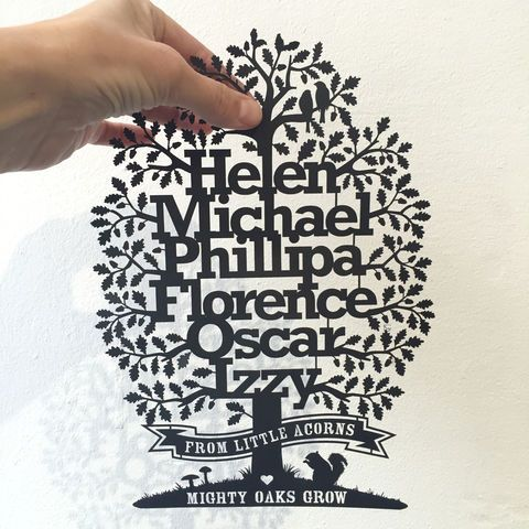 Personalised Family Oak Tree with Motto
