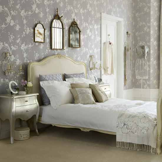 Grey Vintage Bedroom: White-Mattress-Design-with-Grey-Wall-Painting-Unit-with