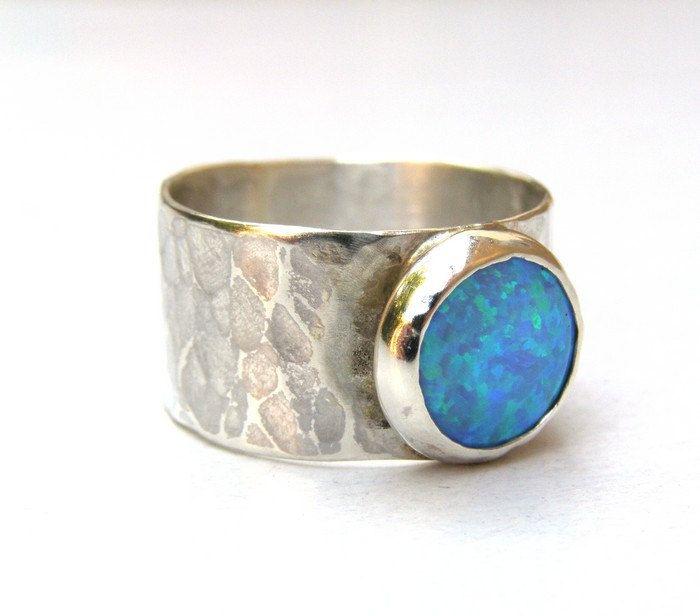 Blue Opal ring Silver ring Gemstone ring Birthstone by OritNaar, $89.00