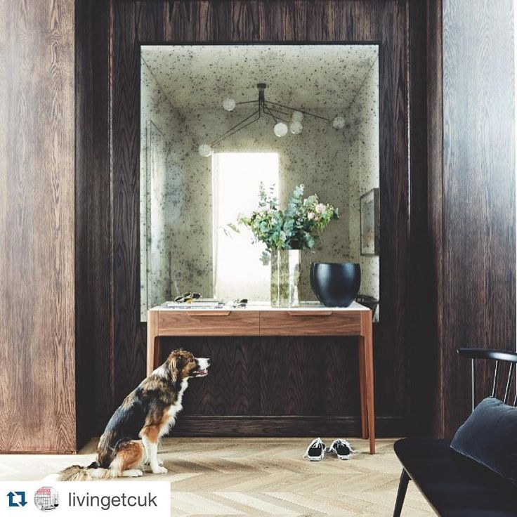 #Regram from @livingetcuk of our Parkgate House project. Here's the adorable Mavis, originally from @dogstrust hanging out in the lobby.  #interiordesign #dogsofinstagram #bandaproperty #entrance #oak #mirror #chevron #home