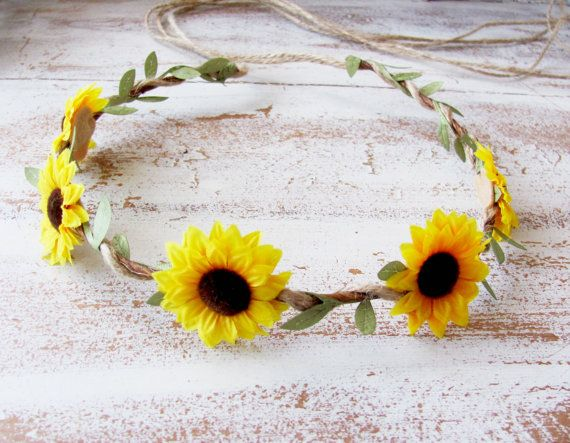 Sunflower  Girls Flower Crown Sunflower Headwreath by BouquetLane                                                                                                                                                                                 More
