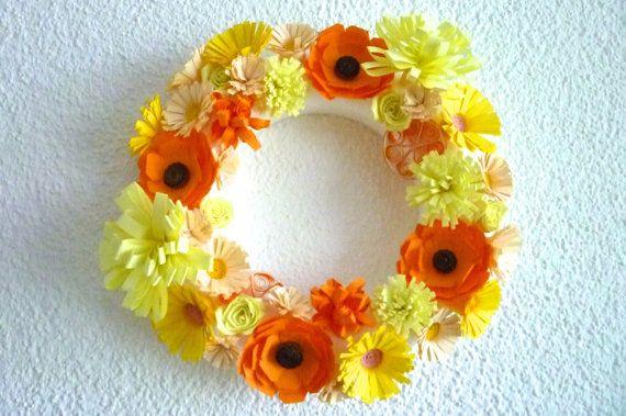 handmade flower Wreath of paper quilling in fresh by ByAzalea, 12.00