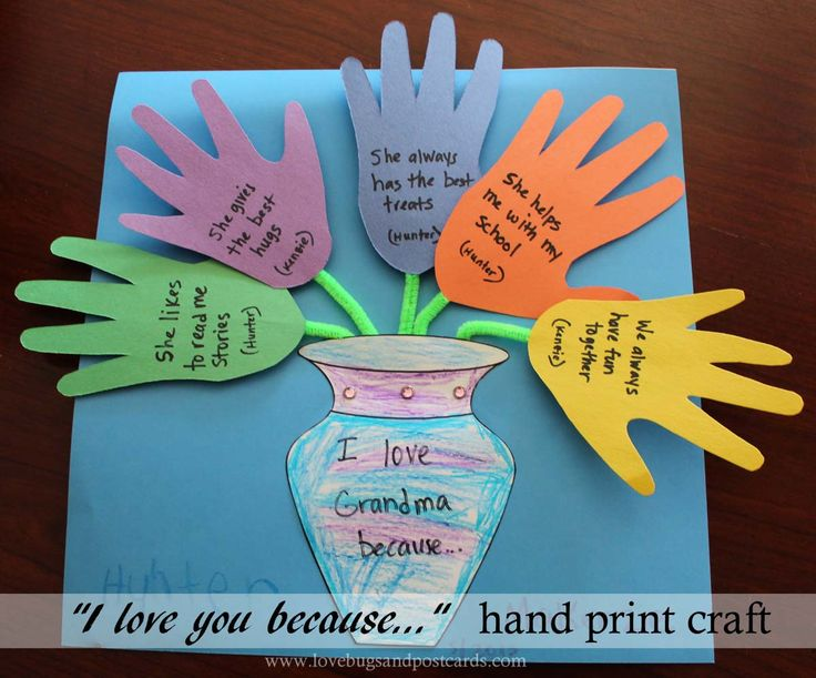Mother 39 s day i love you because hand print craft for Mothers day preschool crafts