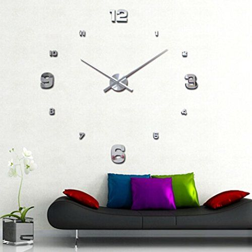 Lacaca luxury 3d diy large wall clock mirror surface sticker home office decor silver
