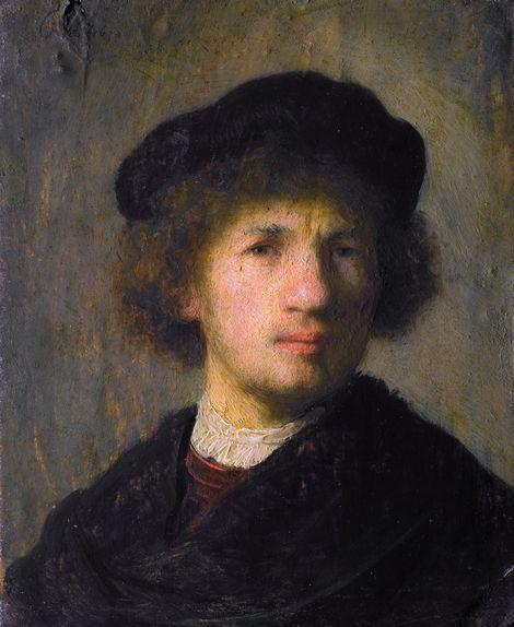 Self-portrait. Autoretrato. Rembrandt. 1630. Oil on panel. 15.5 X 12 cm. Nationalmuseum. Stockholm.