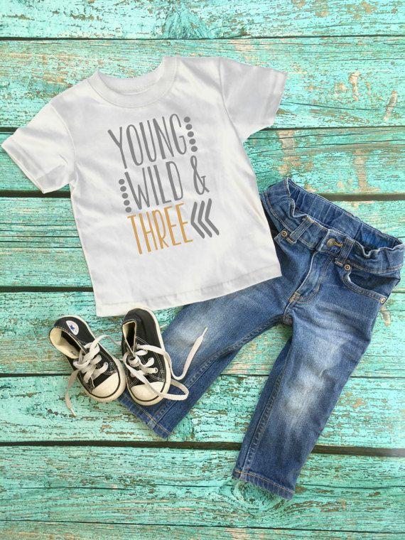 Third birthday  Young Wild and Three shirt  Three Birthday