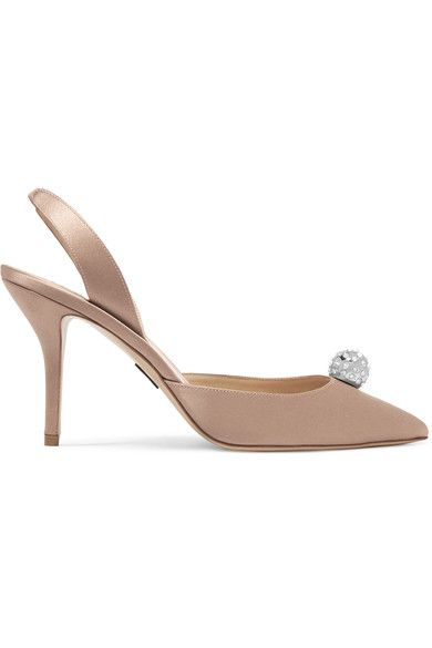 Paul Andrew heel measures approximately 85mm/ 3.5 inches Antique-rose satin Elasticated slingback strap Designer color: Blush Made in ItalySmall to size. See Size & Fit notes.