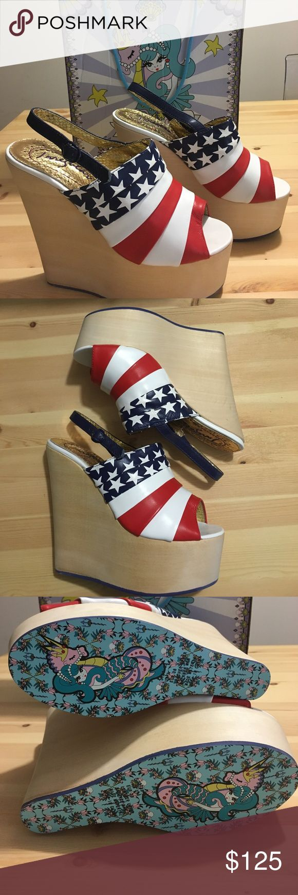 "American Flag Platform Wedge - W7 Never worn - In box! Purchased from Free People - Irregular Choice ""Chica Chola"" platform wedge with American Flag pattern. So perfect for Fourth of July and the summer! Sold out everywhere! Free People Shoes Platforms"