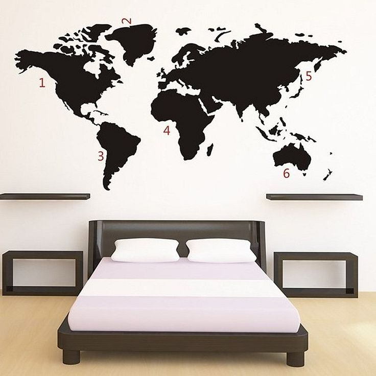 World Map Muursticker - Zwart