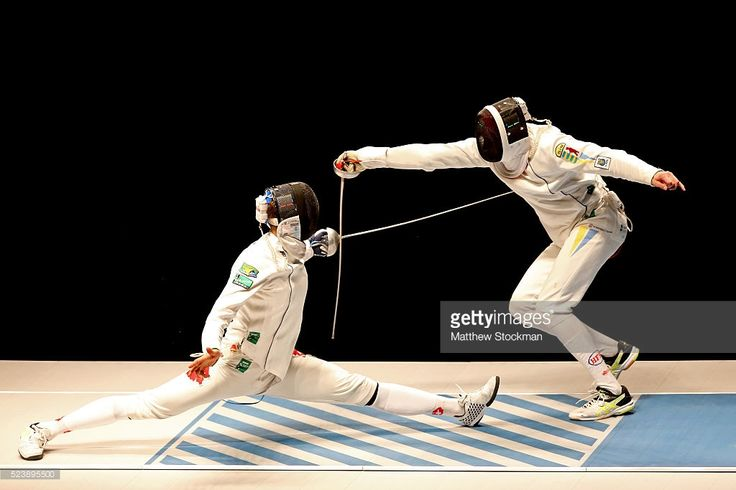 Benjamin Steffen of Switzerland fences Anatoily Herey of Ukraine in the men's Epee semifinal during the International Fencing Tournament - Aquece Rio Test Event for the Rio 2016 Olympics at Arena Carioca 3 in Olympic Park on April 24, 2016 in Rio de Janeiro, Brazil.