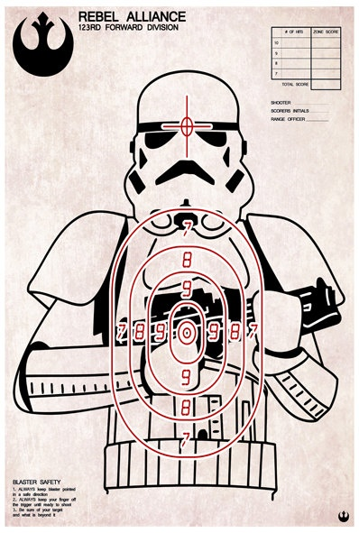Stormtrooper shooting target art print via Etsy by purplecactusdesign