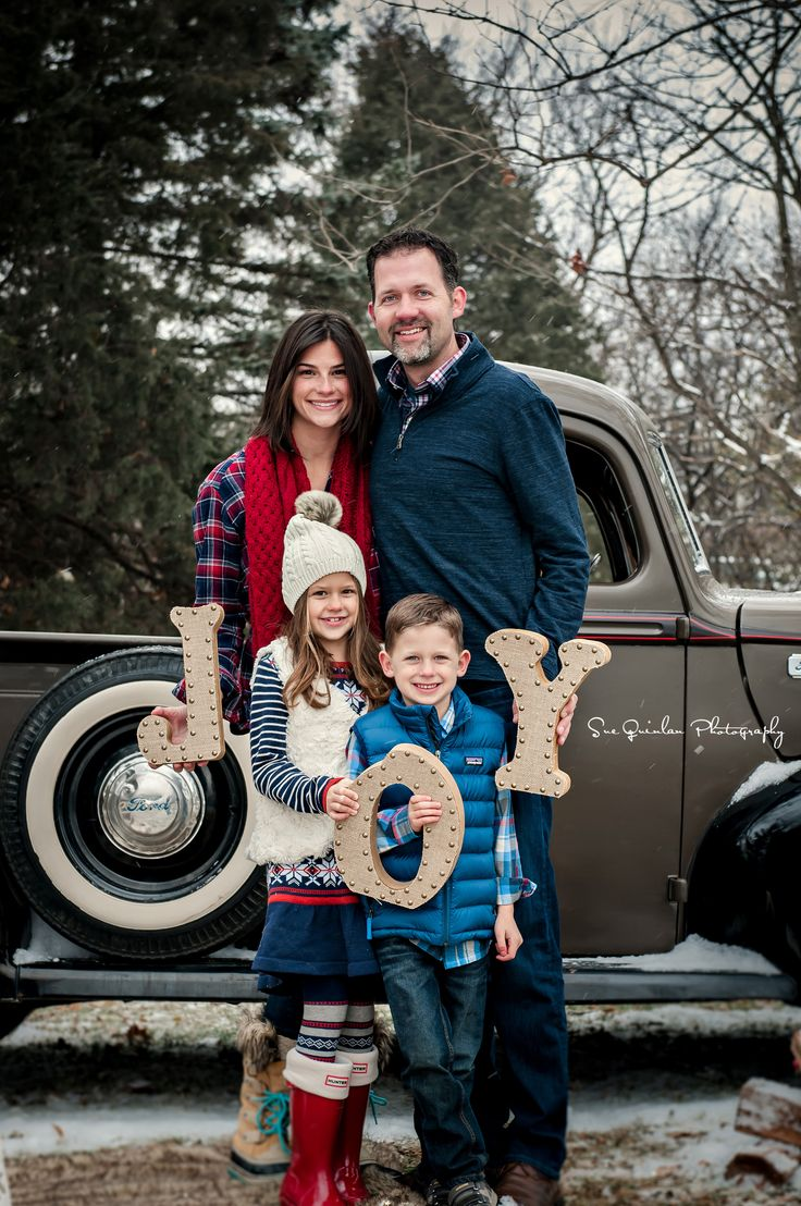 Outdoor Holiday Photo Shoot, Christmas Mini Session, vintage truck Christmas, JOY Letters, Hunter Boots www.SueQuinlanPhotography.com  www.Facebook.com/SueQuinlanPhotography www.instagram.com/suequinlanphotography
