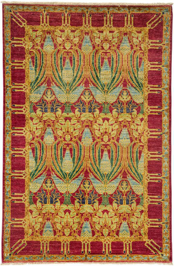 Arts Crafts Hand Knotted Area Rug 4 0 X 6 0 Area Rug