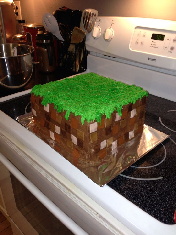 My Minecraft cake for my boys birthday party tomorrow. So excited it came out as well as it did.