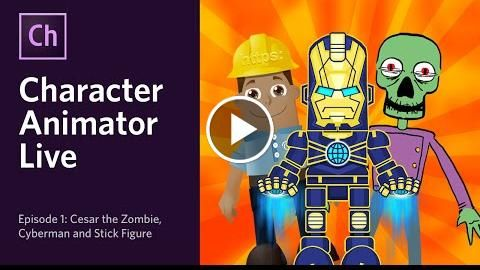 Character Animator Live - Episode 1: Cesar the Zombie, Cyberman & Stick Figure  http://videotutorials411.com/character-animator-live-episode-1-cesar-the-zombie-cyberman-stick-figure/  #Photoshop #adobe #lightroom #graphicdesign #photography