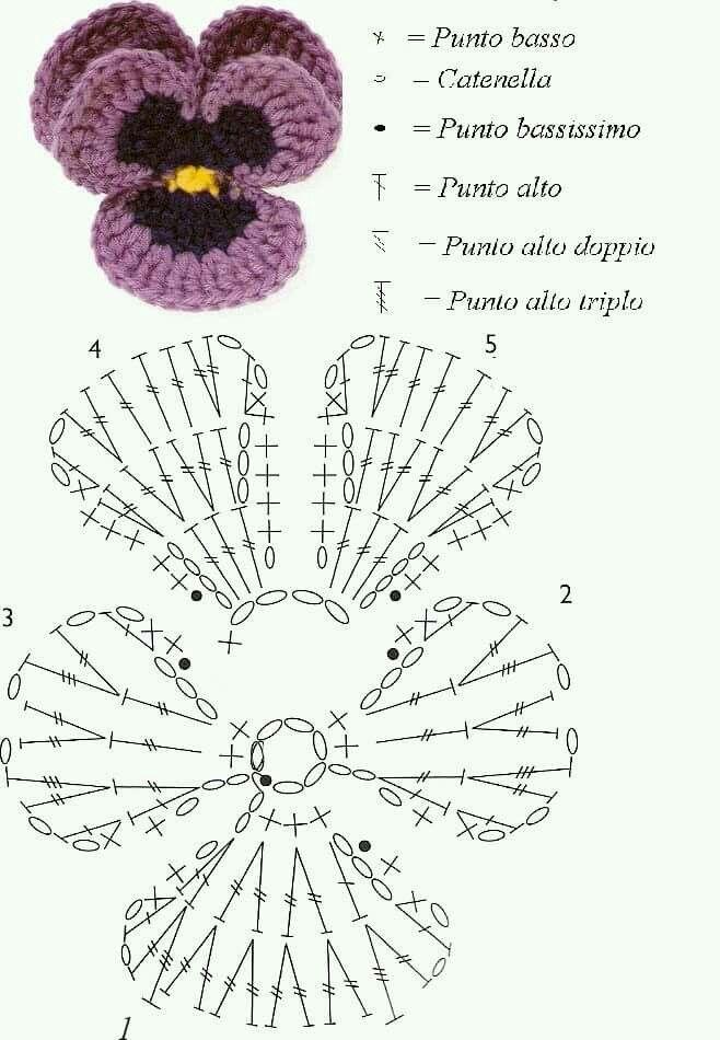 Haak patroon viooltje