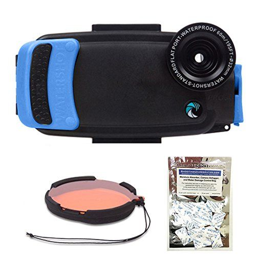 Watershot PRO Kit For IPhone PLUS Snorkel Blue Flat Wide Angle Lens Port W Filter And FREE Moisture Munchers Check This Useful Article By Going To The