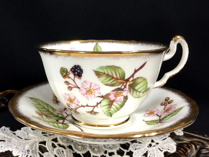 Heavily Decorated Adderley Bramble Teacup and Saucer, Blackberry and Blossom Tea Cup