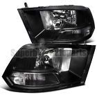 2009-2016 Dodge Ram 1500 2500 3500 Crystal Headlight Clear Head Lamps Black