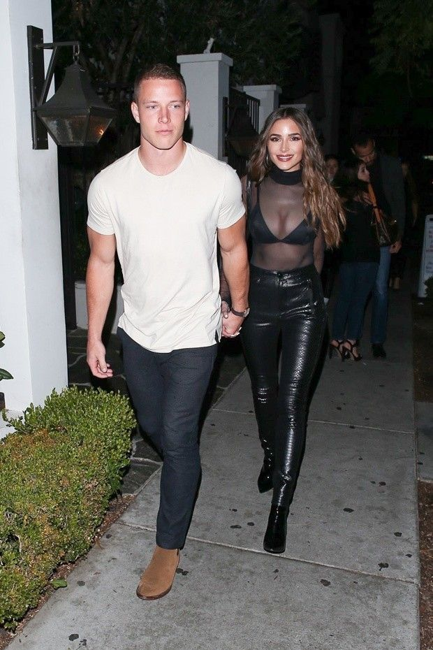 Olivia Culpo Stuns In A Sheer Top During Date Night With Nfl Bf Christian Mccaffrey Esuite In 2020 Christian Mccaffrey Olivia Culpo Winter Date Night Outfits
