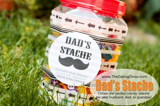 "Father's Day Gift Ideas: Make a jar of dad's favorite candy ""stache"""