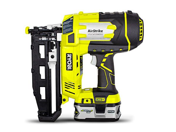 Ranking: ★ ★ ★ ★ Price: $260 Weight: 7.6 lb Nails (2-In.) Per Charge: 885 Battery: Li-ion, 18-v/4 Ahr Nails (15-Ga.): 3/4 to 2 1/2 in. Likes: It's powerful and drives an extremely wide range of fasteners. Features like a large depth-adjustment dial and plentiful rubber overmold make it easy to handle. Dislikes: Part of its drive mechanism is housed behind the magazine; this distributes its weight in a way that makes it slightly more difficult to pivot than the Bosch and the DeWalt.