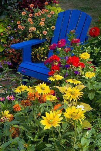 blue chair amidst yellows,red,orange