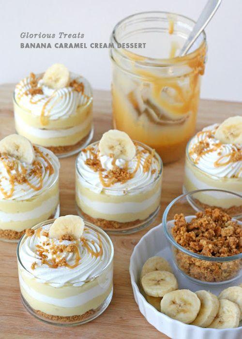 Banana-cream-layered-dessert: Desserts Recipe, Cream Pies, Caramel Cream, Desserts Idea, Bananas Carmel, Cream Desserts, Caramel Desserts, Bananas Cream, Bananas Caramel