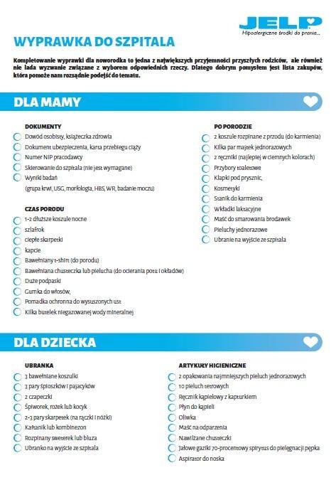 Wyprawka do szpitala dla mamy i noworodka - Lista PDF do wydruku