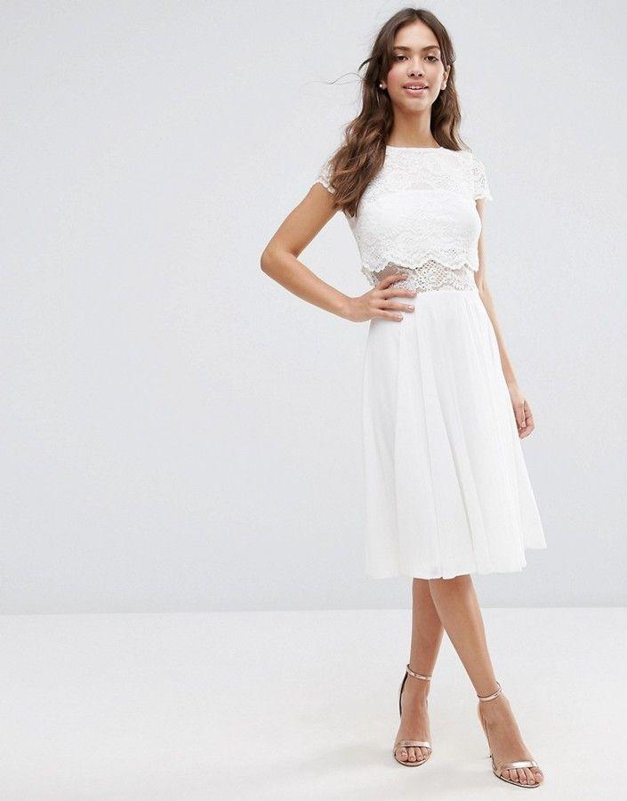 asos midikleid mit kurzem oberteil aus spitze weiss lace white