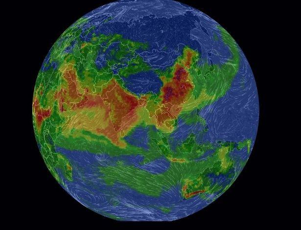 Mapa mostra em tempo real nível da poluição atmosférica da Terra