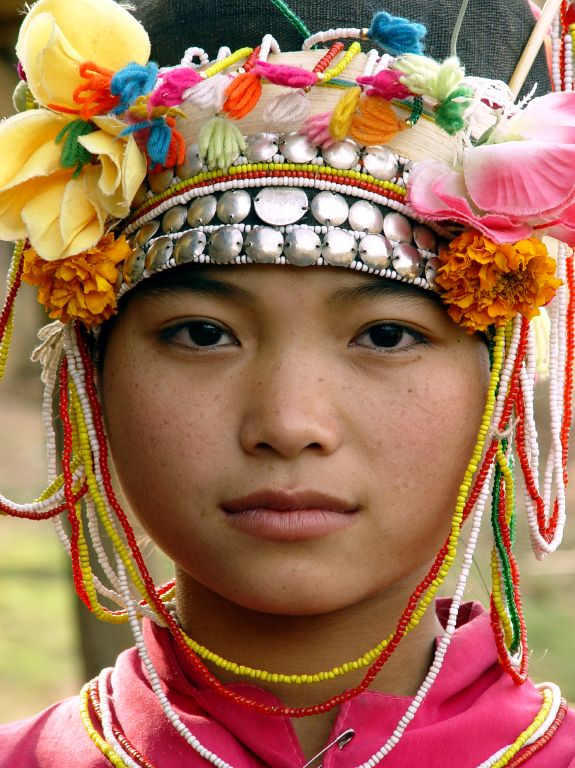 A young Akha woman from the village of Ban namat Mai, Luang namtha province, Laos.