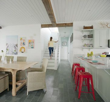 WHITE.  Kitchen + Dining + Staircase - beach style - kitchen - other metro - Joel Snayd
