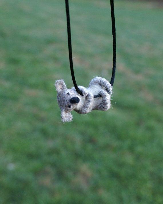 Tiny Koala Necklace / sculpture  needle felted by motleymutton