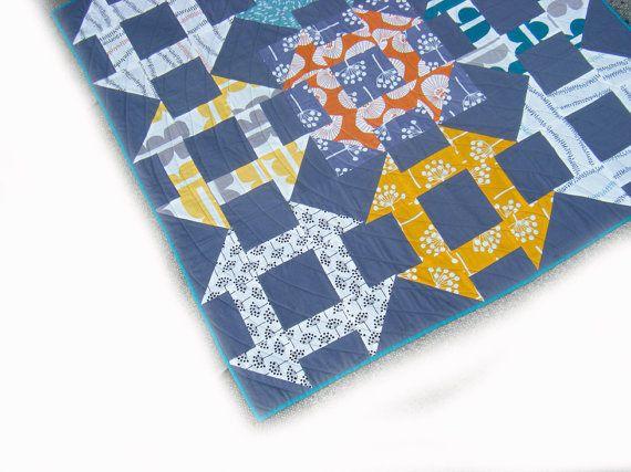 Modern Baby Quilt - toddler blanket, patchwork throw - modern geometric - Lotta Jansdotter Echo