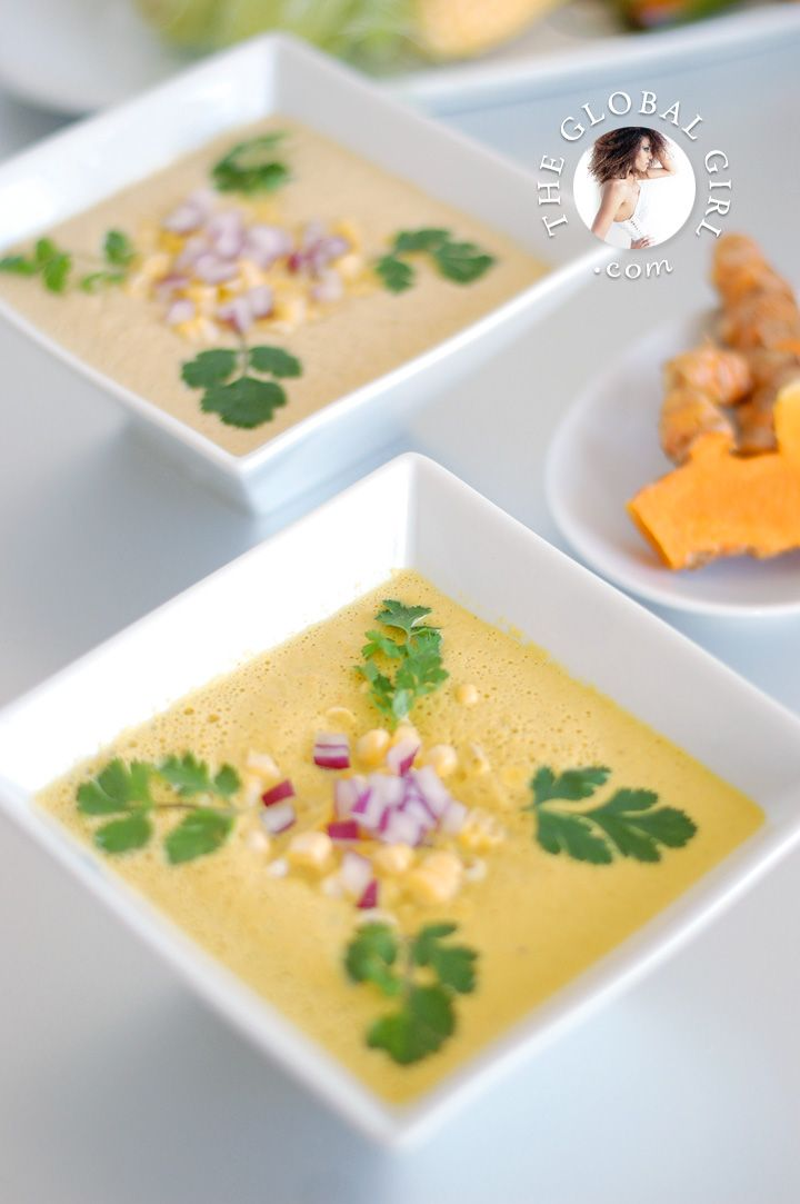 The Global Girl Raw Recipe Series: Get-The-Glow Sopa de Elote (Fresh Corn Soup) from A Week's Worth of Raw Mexican.