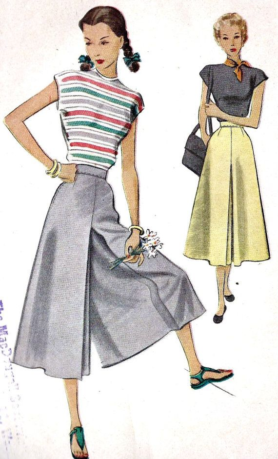 1940s Split Skirt Culottes.  This is what I need; pants that look like a skirt