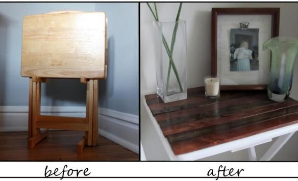 Tv table tray makeover