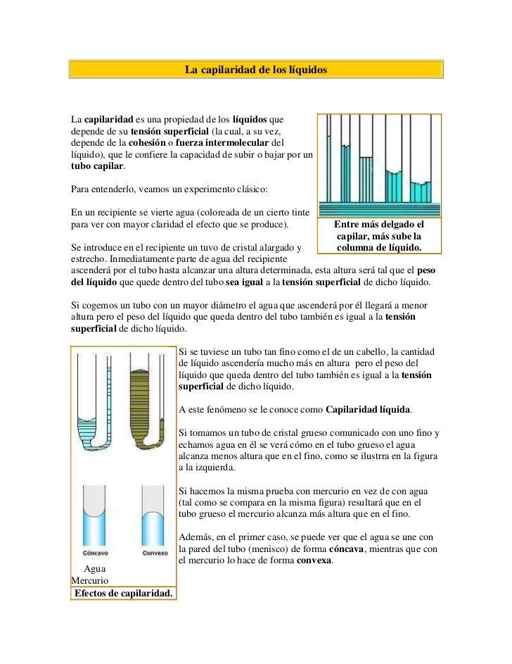 La Capilaridad De Los Liquidos Left0entre Mas Delgado El Capilar Mas Sube La Columna De Liquido La Cap Fails