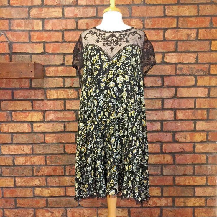 Torrid Mesh Illusion Neckline Dress Size 4X Gauze Floral 90s Look Mini Black  #Torrid #ShiftDress #Casual