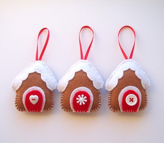 Felt gingerbread house ornaments