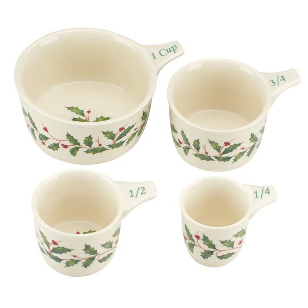 Adding more Christmas to your kitchen through the holiday season are these festive Measuring Cups. This set includes 4 cups all decorated with the Lenox traditional Holiday motif. Cup sizes are 1 cup, 3/4 cup, 1/2 cup and 1/4 cup.
