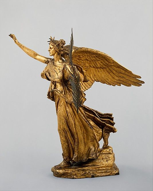 Victory; Augustus Saint-Gaudens, 1893-1903, Bronze gilt.  A part of the Sherman Monument equestrian statue of the Civil War hero; with traditional laurel crown and palm leaf