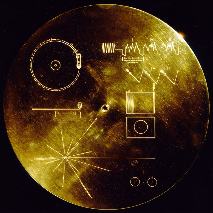 Voyager Golden Record - A Message To Aliens.  The records were included on both Voyager spacecraft which were launched in 1977.