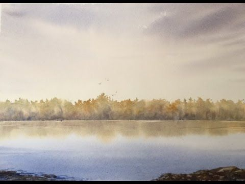 Рисуем Деревья на дальнем плане.Очень легкий пейзаж.Simple landscape in ...