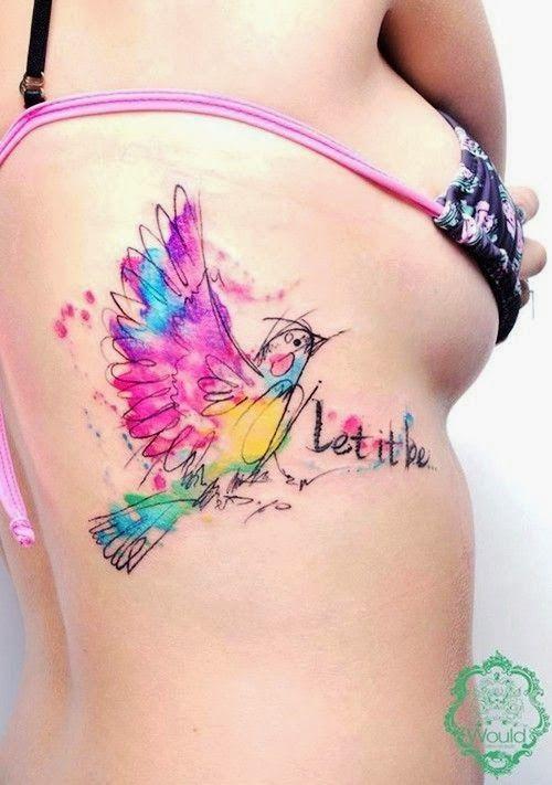 bird watercolor tattoo. side tattoo. quote tattoo. let it be tattoo. rib tattoo.