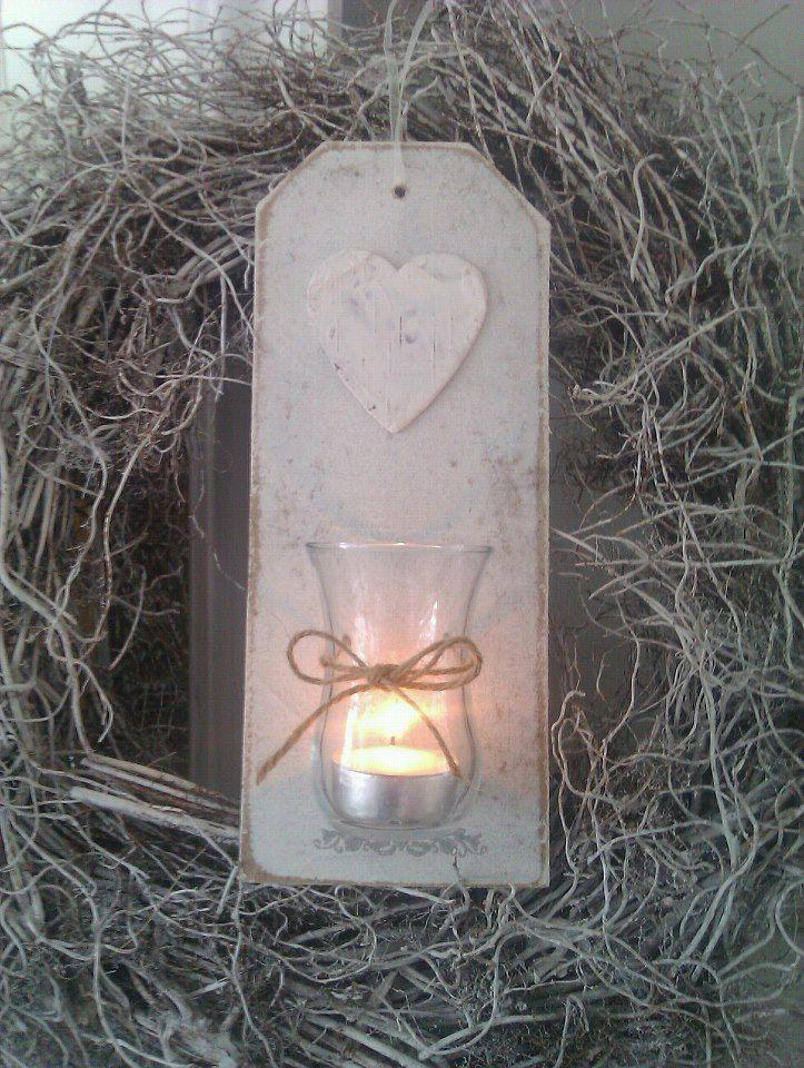 houten label met windlichtje, brocante look 4 euro